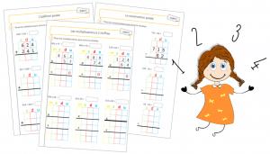 Fiches de calculs posés : additions, soustractions et multiplications